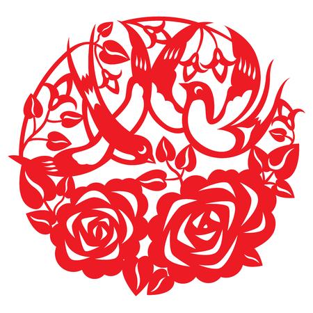 golondrinas: Papel-corte de un par golondrina volando alrededor del jard�n de rosas Vectores