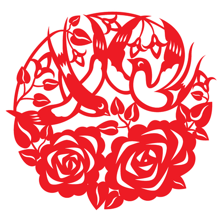 Paper-cutting of a pair swallow flying around the rose garden Vector