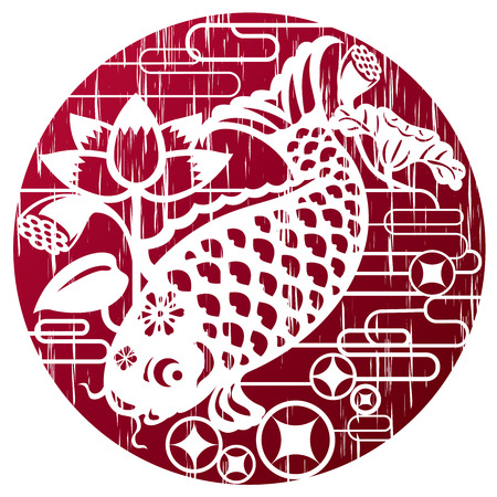 new year s: New year fish in grunge style for celebrating Lunar New Year Illustration
