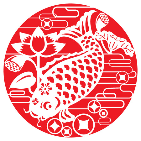 Luck fish for celebrating Lunar New Year in paper cut style Vector