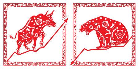 stock trader: Bear Vs. Bull en la ilustraci�n de estilo chino de corte de papel Vectores