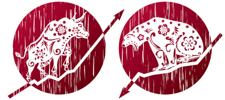 bear market: Bear Vs Bull in grunge illustration style