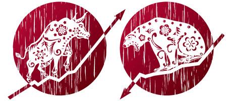 Bear Vs Bull in grunge illustration style