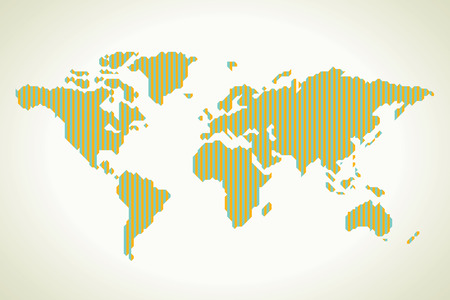 physical geography: World map in stripe Illustration