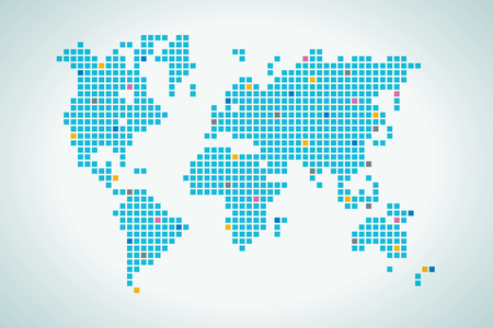 physical geography: World map in squares dot