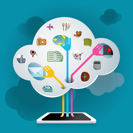 handheld device: Searching data information from Cloud technologyby handheld device Illustration