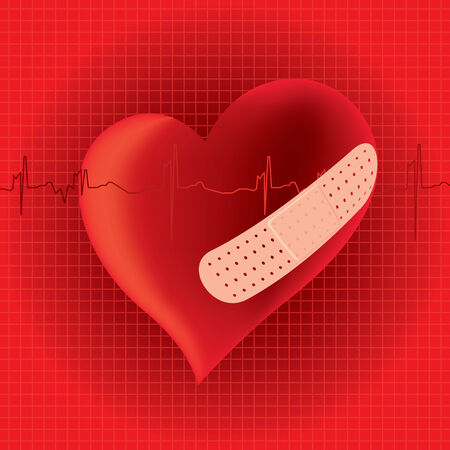 heart disease: Heart with band aid, heart disease illustration