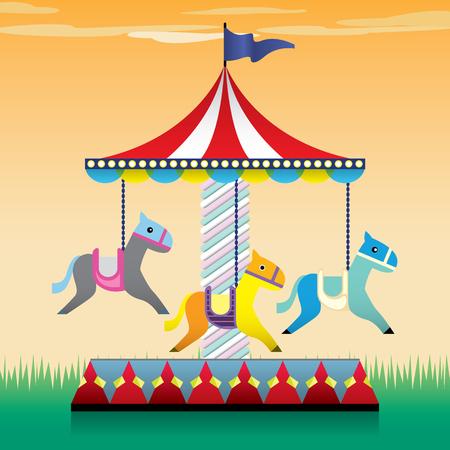 merry go round: Carousel, merry go round illustration