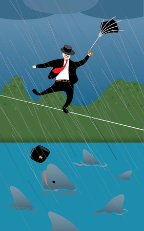 torrential rain: Business man facing risky challenge Illustration