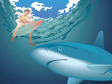 breaking wave: Great shark waiting the surfer from undersea view illustration