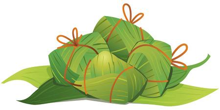 arroz chino: Alb�ndigas de arroz chinas y bamb�, hoja, ilustraci�n Vectores