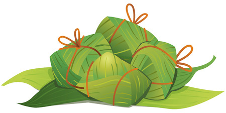 Boulettes de riz chinois et des feuilles de bambou illustration