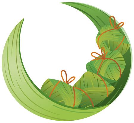 клецка: Китайский рис Пельмени и листьев бамбука иллюстрация