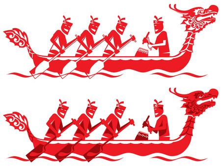 chinese dragon: Chinese Dragon Boat competition illustration in two styles