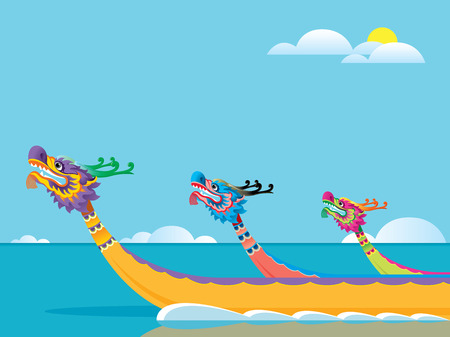 Dragon boat competition is one traditional ceremonies for Tuen Ng Festival Vector