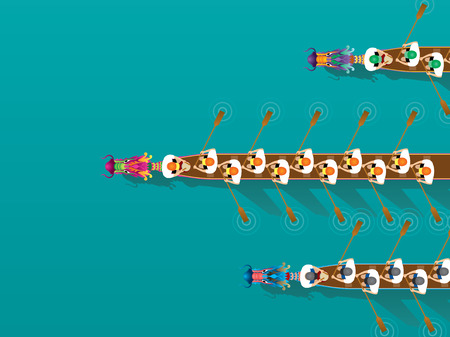 Chinese Dragon Boat competition illustration in high angle view Vector