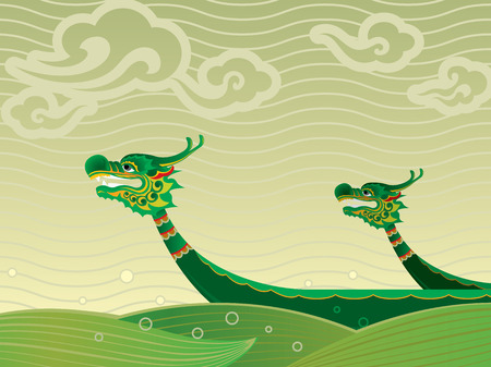 Dragon boat competition is one traditional ceremonies for Tuen Ng Festival in green tone