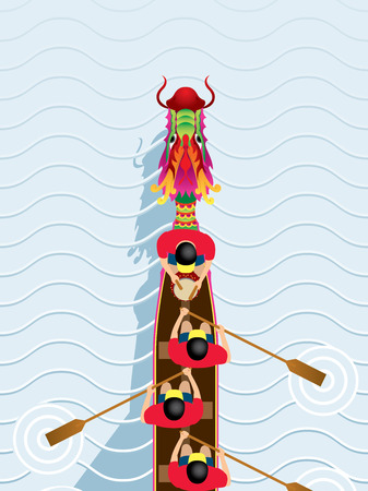 Chinese Dragon Boat competition illustration in high angle view