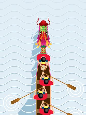 sport team: Chinese Dragon Boat concurrentie afbeelding in hoge hoek bekijken Stock Illustratie
