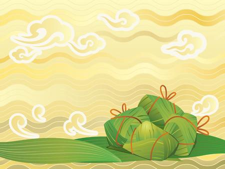Cinese gnocchi di riso sfondo illustrazione