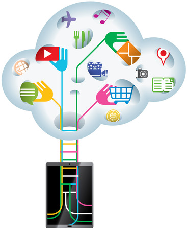 handheld device: Cloud - handheld device searching data information from Cloud technology Illustration