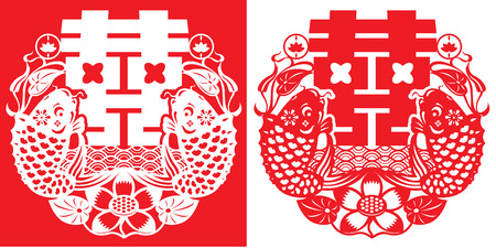 Double carp   double happiness illustration in paper cut style Vector