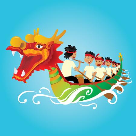 中国のドラゴンのボート競争の図