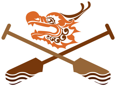 Dragon boat icon illustration Çizim
