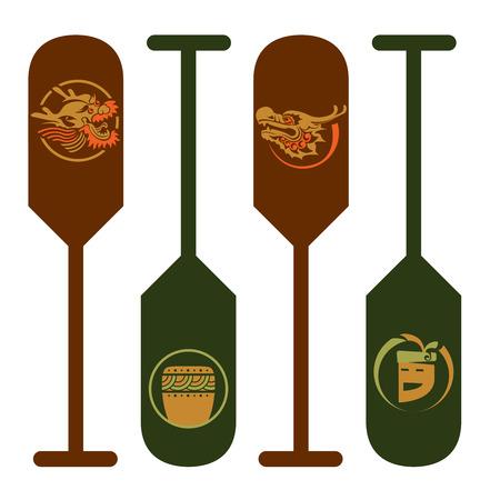 dragon swim: Dragon illustration on Paddle sign - 4 design, for Dragon boat competitive festival