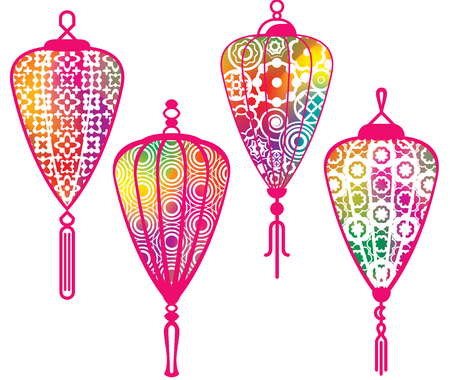 Color Chinese paper lanterns set with mesh effect Vector
