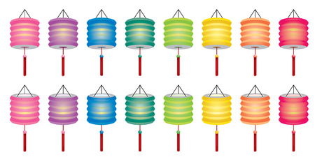 Chinese paper lantern set with 2 angles view