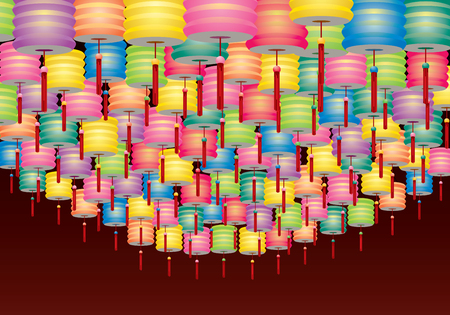Group of Paper lanterns decoration for Mid Autumn festival