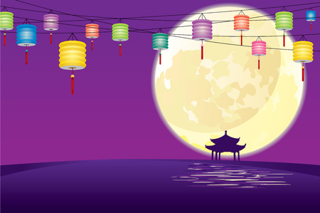 paper lantern: Chinese style pavilion in Full moon night, to celebrate the Mid autumn festival