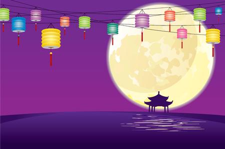 papierlaterne: Pavillon im chinesischen Stil in Vollmondnacht, in die Mitte der Herbstfest feiern