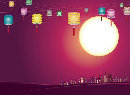 중국어 중순 가을 등불 도시의 스카이 라인, 혼합 색상 종이 등불을 걸어 스톡 콘텐츠 - 29429558