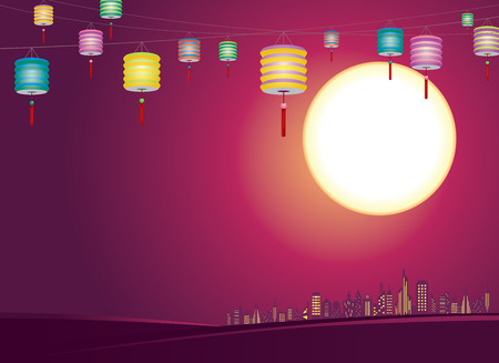 Chinese Mid-autumn lanterns city skyline, hang the mixed color paper lanterns Illustration