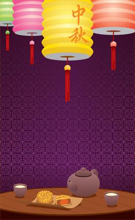 chinese tea cup: Linternas de papel y la ilustraci�n de t� chino, Dos palabras chinas significan chino de Medio Oto�o