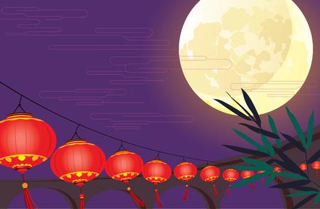 보름달와 중국어 등불 축제 디자인 스톡 콘텐츠 - 29462982