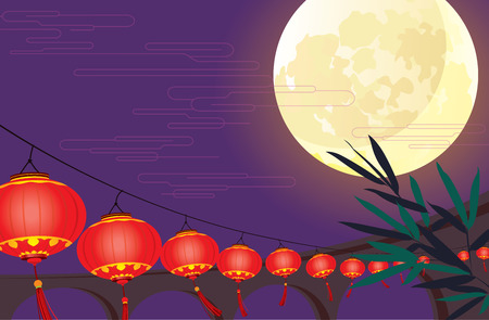 moon cake festival: Full moon and Chinese lantern festival design  Illustration