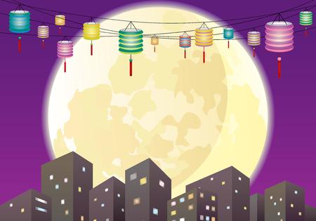중순 중국 등불 도시, 혼합 색깔 종이 초롱을 걸어