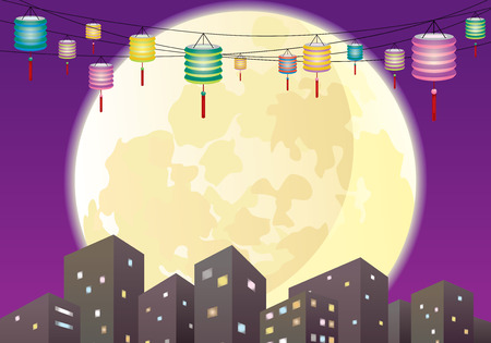 Chinese Mid autumn lanterns city, hang the mixed color paper lanterns