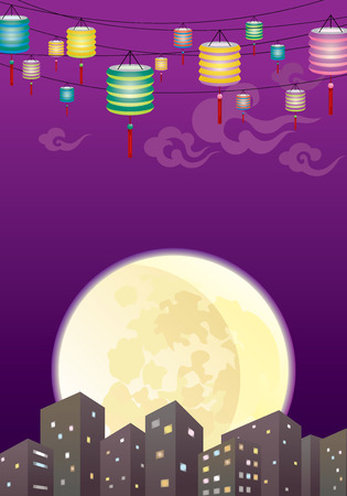 moon cake festival: Chinese Mid autumn lanterns city, hang the mixed color paper lanterns