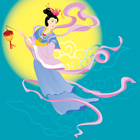 moon festival: Chinese Fairy flying to the moon for celebrate the mid autumn festival