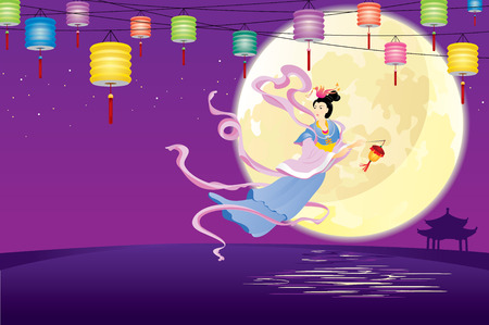 Chinese Fairy flying to the moon for celebrating the mid autumn festival 向量圖像