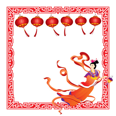 moon cake festival: Chinese Fairy flying on paper lanterns border illustration Illustration