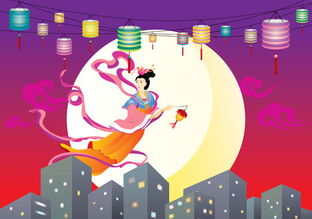 Chinese Fairy flying to the moon in the city,  celebrating the mid autumn festival