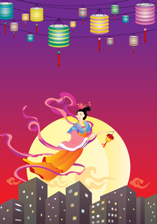 moon cake: Chinese Fairy flying to the moon in the city,  celebrating the mid autumn festival