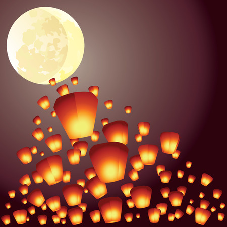 Wish lanterns fly over the full moon illustration Vector