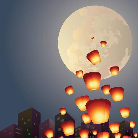sky lantern: Souhait lanternes survolent la lune pleine illustration Illustration