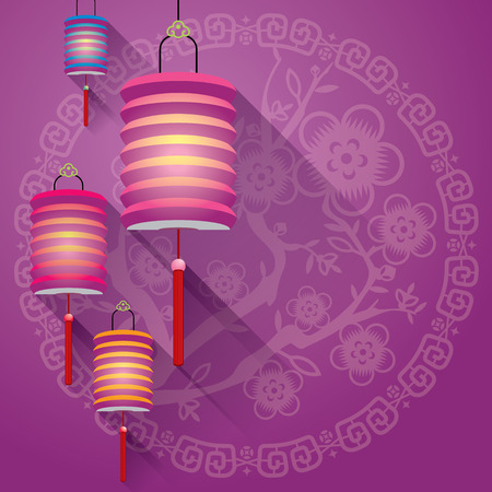 Abstract Chinese paper lanterns background with paper cut flora pattern Vector